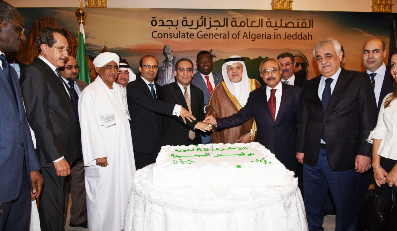 القنصلية الجزائرية بجده تحتفل بعيد الإستقلال بحضور عميد السلك الدبلوماسي السفير العياشي دنيا المغتربين اليمنيين